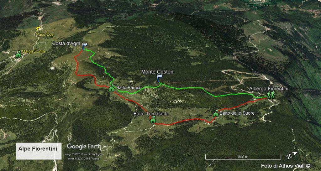 Percorso disegnato su mappa Google Earth