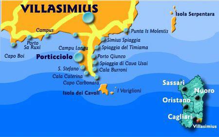 Villasimius Cartina Sardegna Sud.Sardegna Capo Carbonara E Punta Molentis